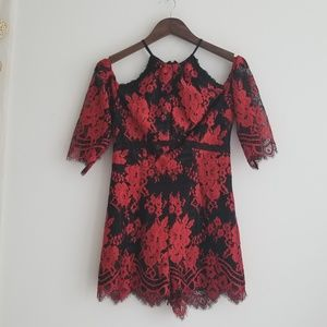 NWOT GUESS Cold Shoulder Lace Romper, XS